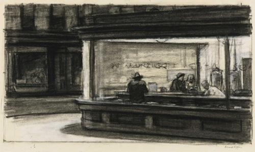 Edward Hopper Drawing for Nighthawks 1941-1942