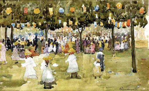 maurice-prendergast-central park july 4th_