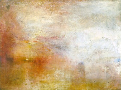jmw turner sun setting over lake painting